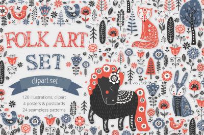 Folk Art Illustration Set