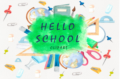 Back to School Watercolor clipart.