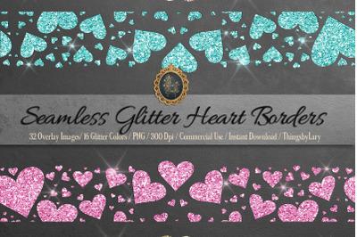 32 Seamless Tileable Glitter Heart Borders Overlay Images