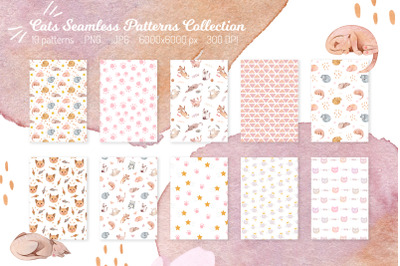 Cute Cats Seamless patterns collection