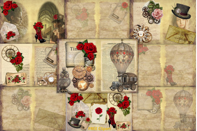 STeampunk background set with free clipart and ephemera