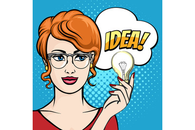 Woman Holds Light Bulb with Speech Bubble drawn in Pop Art Style. Vect