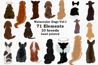 Dogs Clipart,Dog breeds Pet clipart,Watercolor dogs clipart