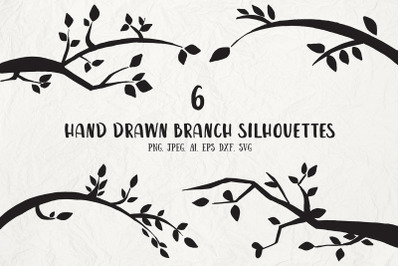6 Branch Silhouettes Handmade Cliparts