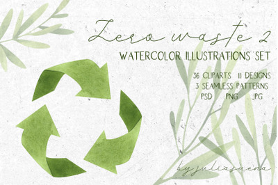 Zero waste 2. Watercolor illustrations set