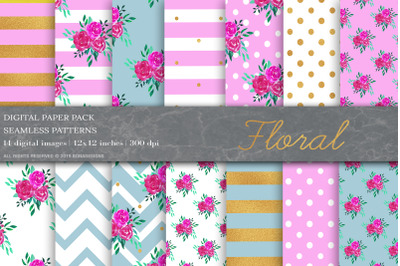 Floral Digital Paper, Shabby Chic