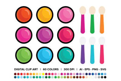 Eyeshadow Pot & Sponge Brush Clip Art