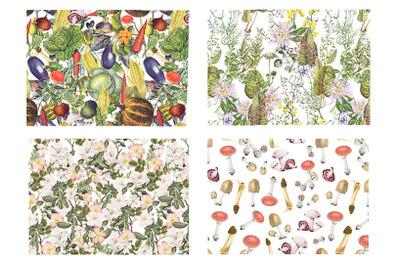 Retro botanical plants, vegetables and mushrooms patterns set