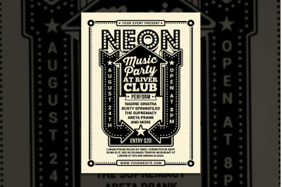 Vintage Neon Music Party
