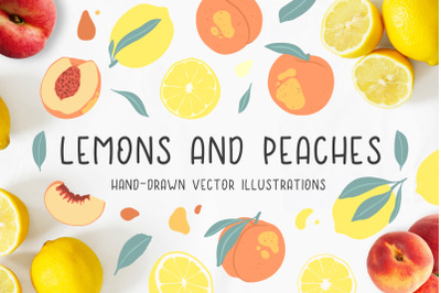 Lemons and peaches illustrations