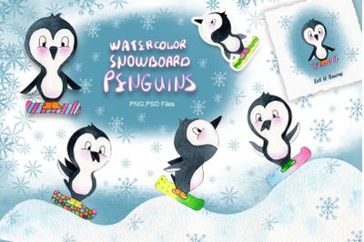 Watercolor Snowboard Penguins