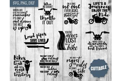 Biker SVG, Motorbike quote cut files, Bike cut file bundles, Biker SVG