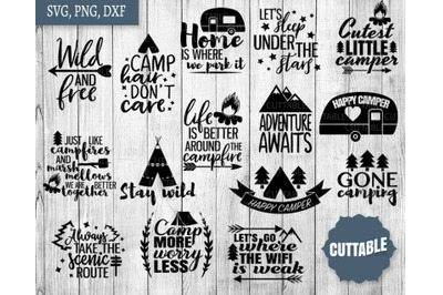 Camping SVGs, Camping cut file bundle, Campfire svg quotes