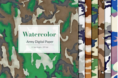 Watercolor Army Digital Paper, Camouflage Backgrounds