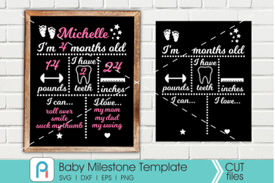 Baby Milestone Svg, Baby Milestone Chalkboard Svg, Baby Svg