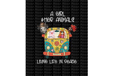 A Girl and Her Animals Living Life In Peace Hippie T-shirt, Hippie Lif