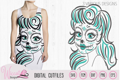 Sugar Skull Woman svg, skeleton girl