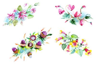 Bilbao flower bouquet watercolor png