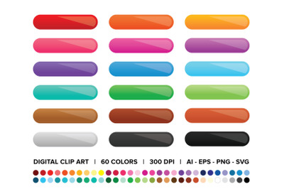 Gradient Web Button Clip Art Set