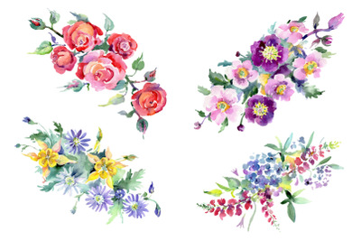 Bouquet of flowers Colombo watercolor PNG