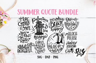 Summer Hand Lettered Quote SVG DXF PNG Bundle