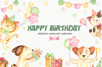 Childrens birthday clipart in watercolor with dog and cat