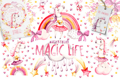 Magic Life.  Pink  naive Unicorns  Watercolor  nursery collection.