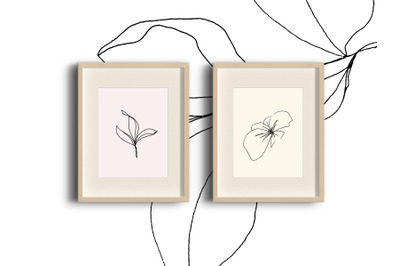 Floral pencil drawing one line art elements, Vector