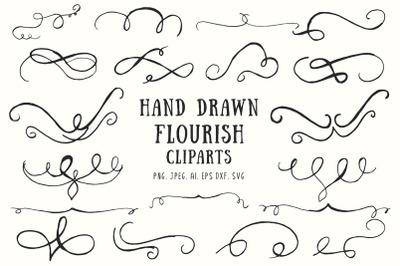 20+ Flourish Hand Drawn Cliparts