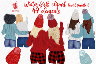 Girls Clipart Best friends clipart Girls in Sweaters clipart