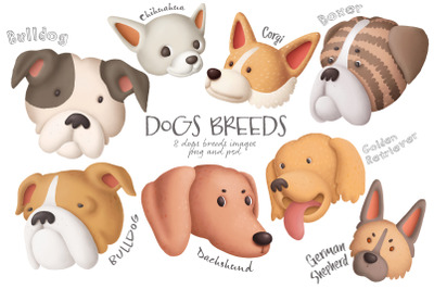 Dogs breeds clipart