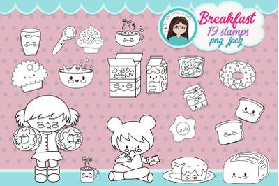 Breakfast planner girl Stamps