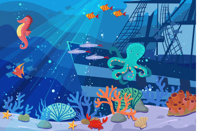 Underwater World Scene Background