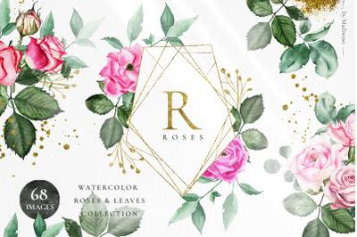 ROSETTE - watercolor roses leaf set