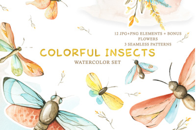 Watercolor Set Colorful Insects