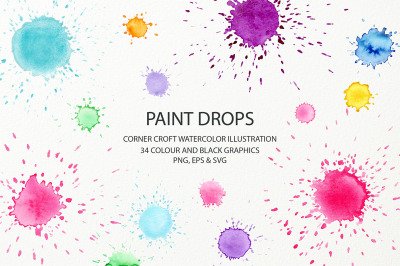 Watercolor paint drop and paint splatter effect for instant download