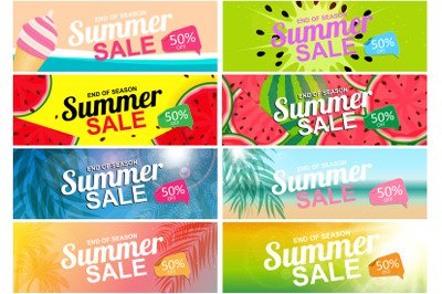Collection of 8 Abstract Summer Sale Background Watermelon and Palm