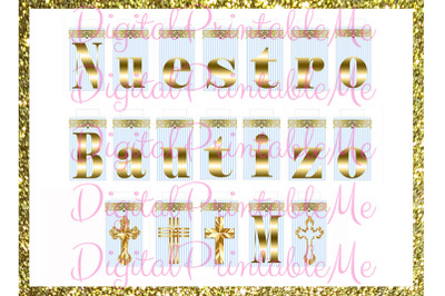 Printable Nuestro Bautizo Mi Banner, Blue Gold, baptism, Sign, Light,