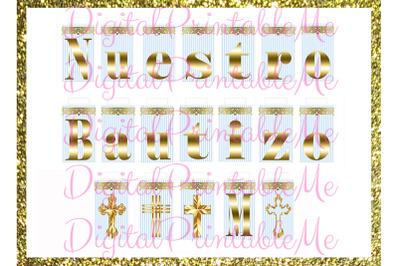 Printable Nuestro Bautizo Mi Banner, Blue Gold, baptism, Sign, Light,