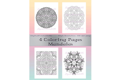Adult Coloring Page Pack 3&2C; 4 pages mandalas&2C; mandala&2C; printable&2C; down