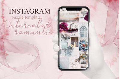 Instagram puzzle template-Watercolor romantic