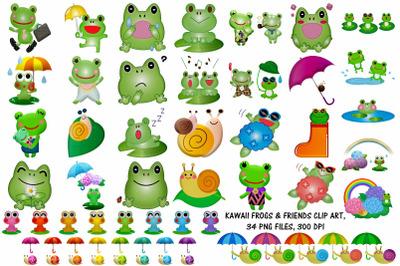 Kawaii Frog and Friends Clip Art