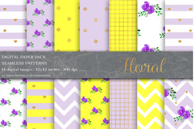 Floral Digital Papers, Shabby Chic Papers