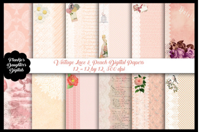 Vintage Peach and Lace Digital Papers