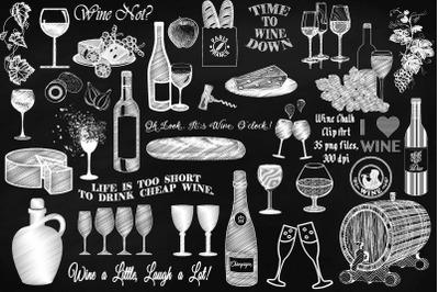 Wine Chalk & Elements Clip Art