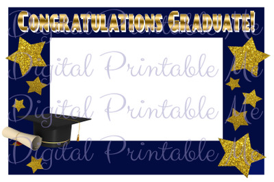 Photo Booth Frame Graduation Decoration Photo Booth Prop Navy Blue Gol