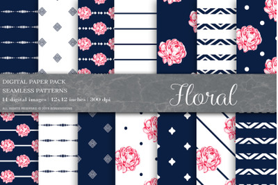 Floral Digital Papers, Shabby Chic, Blue Patterns