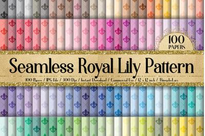 100 Seamless Fleur De Lis Royal Lily Digital Papers