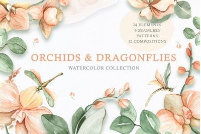 Watercolor Set Orchids and Dragonflies