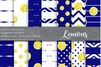 Summer Digital Papers, Lemon Patterns